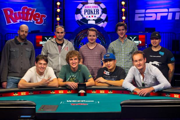 The 2013 WSOP finalists before the final event